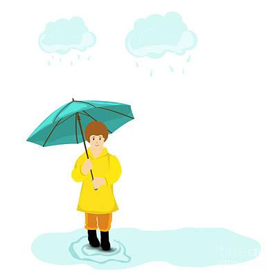 Stylish Girl Holding Green Umbrella On Poster