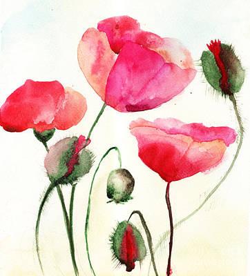 Stylized Poppy Flowers Illustration  Poster