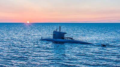 Submarine Sunset Poster by Alex Hiemstra