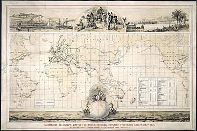 Submarine Telegraph Map Poster
