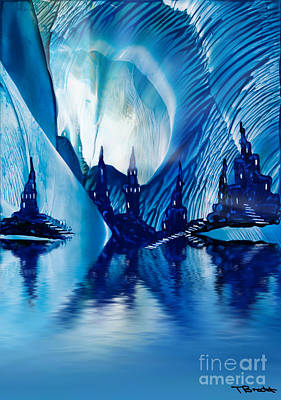 Subterranean Castles Wax Painting In Blue Poster by Simon Bratt Photography LRPS