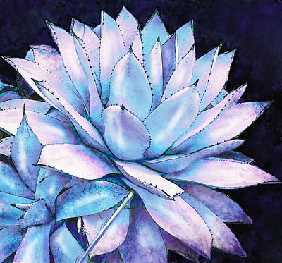 Poster featuring the digital art Succulent In Blue And Purple by Jane Schnetlage