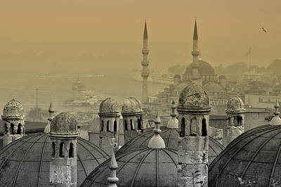 Suleymaniye Mosque And New Mosque In Istanbul Poster by Ayhan Altun