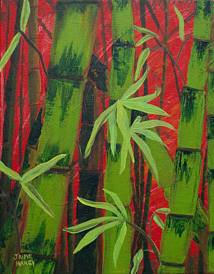 Sultry Bamboo Forest Acrylic Painting Poster