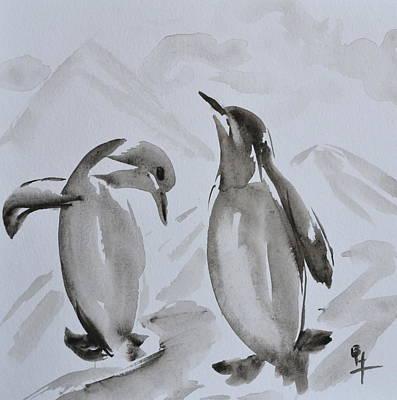 Sumi-e Penguin Dance Poster