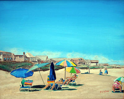 Poster featuring the painting Summer At Salisbury Beach by Anthony Ross