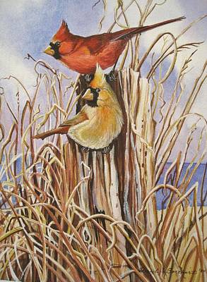 Summer Cardinals Poster by Cheryl Borchert