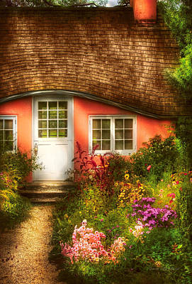 Summer - Cottage - Little Pink Play House Poster by Mike Savad
