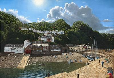 Summer Evening Clovelly North Devon Poster by Richard Harpum