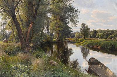 Summer Landscape With River Floodplain Poster
