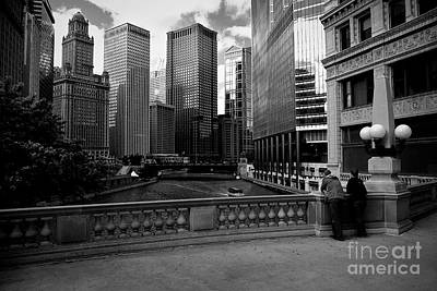 Summer On The Chicago River - Black And White Poster