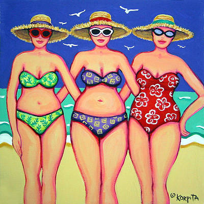 Summer Sisters - Beach Poster by Rebecca Korpita