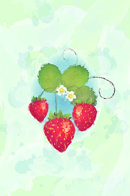Summer Strawberries Poster by Jane Rix