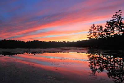 Summer Sunset At Potapaug Pond Quabbin Reservoir Poster by John Burk
