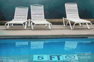Summer Swimming Pool - Retro Summer Vacation Days - Swimming Pool Water And Chairs Poster
