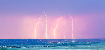 Summer Thunderstorm Lightning Strikes Panorama Poster