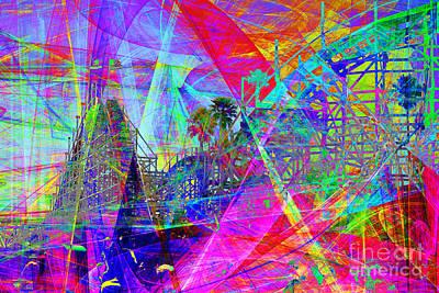Summertime At Santa Cruz Beach Boardwalk 5d23930 Poster by Wingsdomain Art and Photography