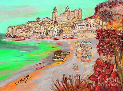Poster featuring the painting Summertime In Cefalu' by Loredana Messina