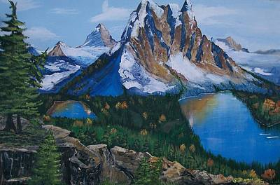 Poster featuring the painting Sun Burst Peak by Sharon Duguay