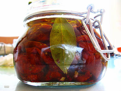 Sun Dried Tomatoes In A Glass Jar Poster by Alexandros Daskalakis