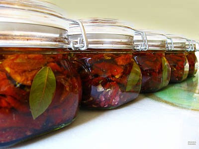 Sun Dried Tomatoes In Glass Jars Poster by Alexandros Daskalakis