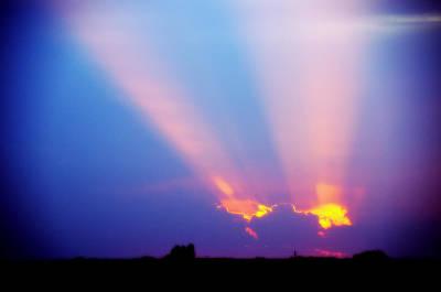 Sun Rays At Sunset Poster by Eric Benjamin