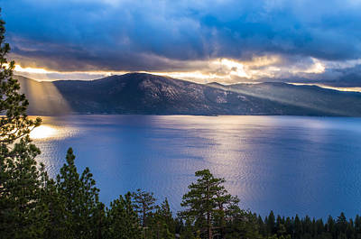 Sun Rays On Lake Tahoe Poster by Marc Crumpler