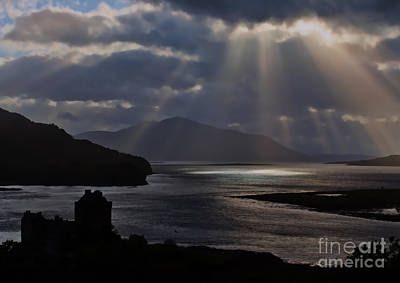 Sun Rays Over Eilean Donan Castle Poster