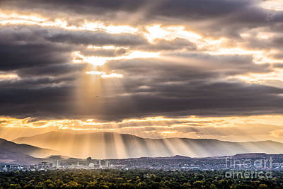 Sun Rays Over Reno Poster by Janis Knight