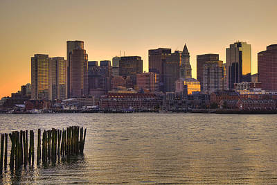 Sun Sets Over Boston Poster