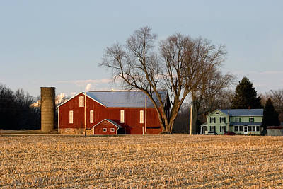 Poster featuring the photograph Sun Setting On A Pennsylvania Bottomland Farm by Gene Walls