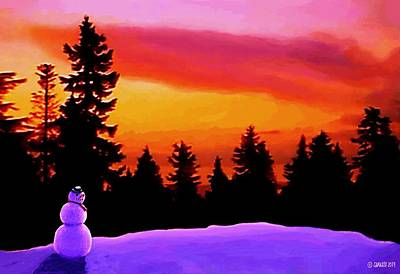Sun Setting On Snow Poster