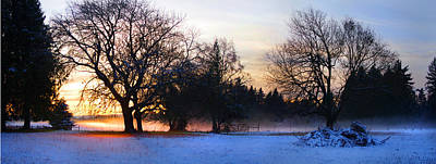 Sun Setting On Snow With Fog On The Ground Behind Poster