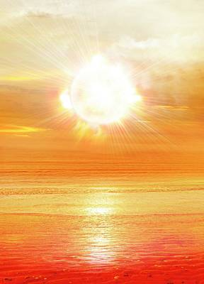 Sun Shining Over Water Poster by Victor Habbick Visions