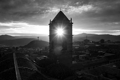 Sun Tower Of Potosi Black And White Poster