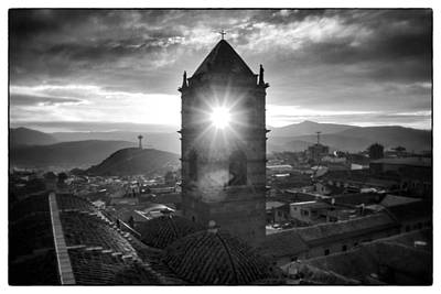 Sun Tower Of Potosi Black And White Framed Poster