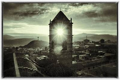 Sun Tower Of Potosi Black And White Vintage  Poster
