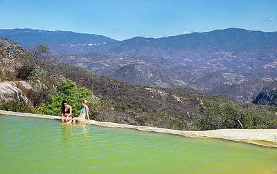 Sunbathers At A Geothermal Pool Poster by Jim West