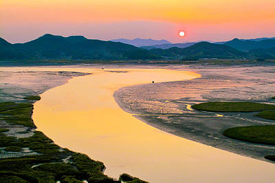 Suncheon Bay Sunset Poster