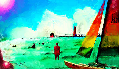 Poster featuring the painting Sunday At Grand Haven by Ted Azriel