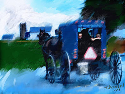 Poster featuring the painting Sunday Buggy Ride by Ted Azriel
