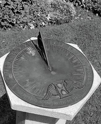 Sundial On Cement Pedestal In Garden Poster