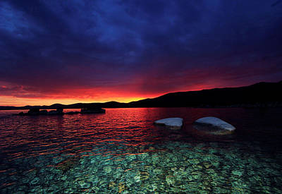 Poster featuring the photograph Sundown In Lake Tahoe by Sean Sarsfield