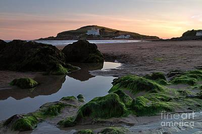 Sundown On The Beach  At Bigbury On Sea In Devon Poster by Louise Heusinkveld