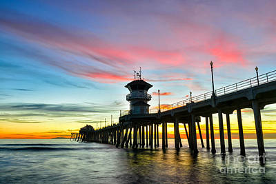 Sunet At Huntington Beach Pier Poster by Peter Dang