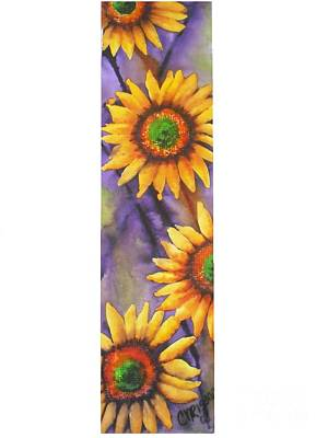 Poster featuring the painting Sunflower Abstract  by Chrisann Ellis