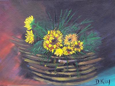 Sunflower Basket Poster by The GYPSY And DEBBIE
