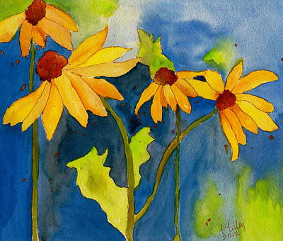 Sunflower Blue Watercolor Poster by Teresa Tilley