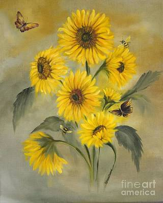 Poster featuring the painting Sunflower Bouquet by Carol Sweetwood