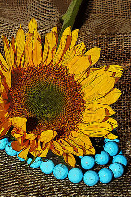 Sunflower Burlap And Turquoise Poster by Phyllis Denton